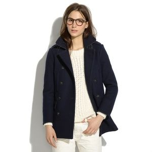 Madewell Double Breasted Pea Coat In Navy